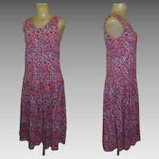 Vintage Laura Ashley Dress, Cotton Knit, Fish Print, Sleeveless
