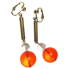 Lucite Earrings, Vintage 60's Drops, Clear Orange