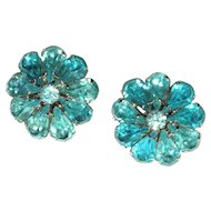 Vintage Rhinestone Earrings, Large Flowers, 50's / 60's