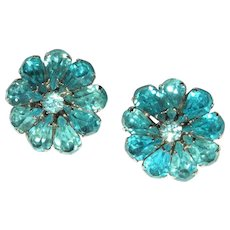 Vintage Rhinestone Earrings, Large Flowers, 50's / 60's