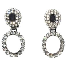 Rhinestone Earrings, Vintage Hoops, Gunmetal & Diamante