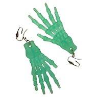 Halloween Earrings, Skeleton Hands, Translucent Green, Vintage