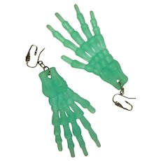 Halloween Earrings, Skeleton Hands, Translucent Green, Vintage
