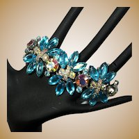 Juliana Rhinestone Bracelet, 5 Link D&E, Vintage 60's