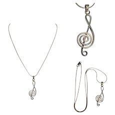 Treble Clef Necklace, Sterling Silver, Vintage 80's Italy