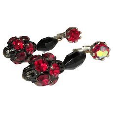 Red Rhinestone Earrings, Vintage Ball Drops Japanned