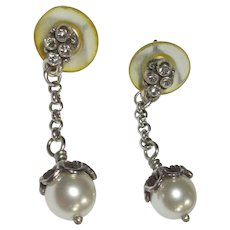 Glass Pearl Earrings, Drops & Rhinestone Button, Vintage
