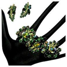 Juliana Rhinestone Bracelet & Earrings, D &E, Vintage 60's