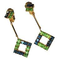 Rhinestone Earrings, 60's Drop Geometric