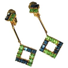 Rhinestone Earrings, 60's Drop Geometric