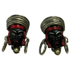Vintage Selro Blackamoor Asian Princess Face Earrings