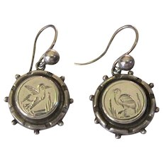 Antique Silver Earrings, English Aesthetic Movement, Engraved Birds