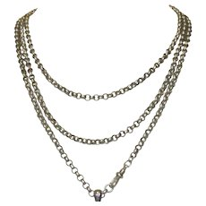 """Antique Victorian Guard Chain Sterling Silver Necklace, Belcher Watch Chain, 62"""""""