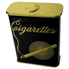 Deco Cigarette Tin / Case, 30's 40's Black & Gold