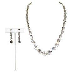 Czech Glass Necklace & Earrings, Art Nouveau Clear Crystal