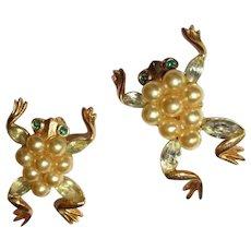Frog Pins, Trifari Alfred Philippe Glass Pearls & Rhinestones, 1952, Pair
