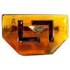 Vintage Art Glass Pin, Art Deco Revival, Vintage 70's