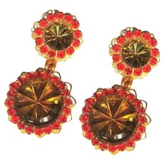Vintage Rhinestone Earrings, 1960's Neon, Reverse Carved Crystal