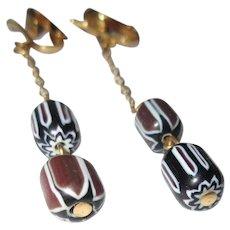 Bead Earrings, Vintage 60's Dangling, Hand Made