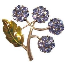 Vintage Floral Rhinestone Pin, Monet 60's, Orig Box