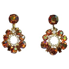 Rhinestone Hoop Earrings, Vintage, Articulated 60's