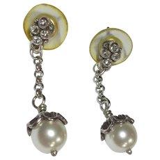Glass Pearl Earrings, Drops & Rhinestone Button, Vintage