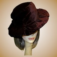 Antique Velvet Hat, Belle Epoque, Edwardian Wide Brim