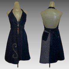 Vintage 70's Halter Dress, Denim Jean, Backless, Studded