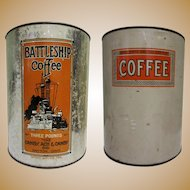 Battleship Coffee Tin, Vintage 40's Deco, Canby, Ach & Canby