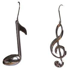 Vintage Music Earrings, Treble Clef & Eight Note
