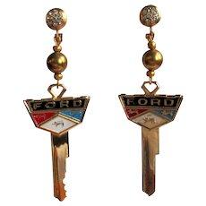 Vintage Ford Earrings, 60's Car Keys, Rhinestone Top