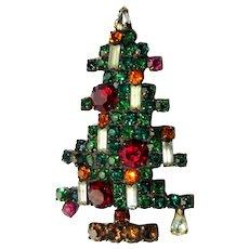 Weiss Rhinestone Christmas Tree Brooch, 6 Candle