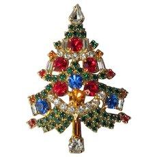 Rhinestone Christmas Tree Brooch, 6 Candle, Vintage