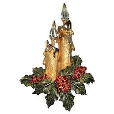Vintage Rhinestone Christmas Pin, Candles & Wreath