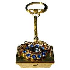 Vintage 50's Rhinestone Purse Key Chain - It Opens