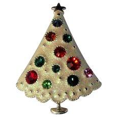 Rhinestone Christmas Tree Brooch, Vintage Pin