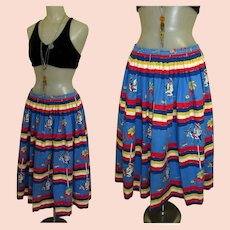 Vintage Cotton Skirt, Mexican Donkey Print, 1950's