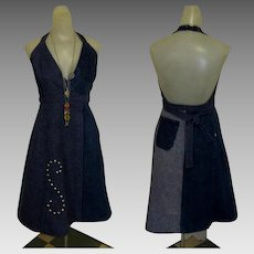 Vintage 70's Halter Dress, Denim Jean, Backless, Studded