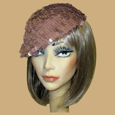 Sequined Hat / Tam, Vintage Italian Crochet