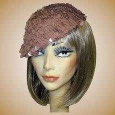 Sequined Hat / Tam, Vintage Italian Crochet