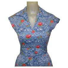 Vintage 70's Dress, Blue Floral Knit