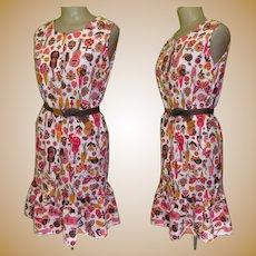 Vintage Dress 60's Guitar & Butterfly Cotton Print