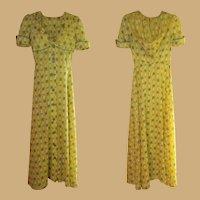 Vintage Dress, 70's Maxi, Prairie Hoodie