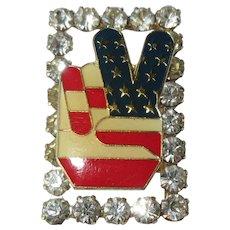 Rhinestone & Flag Peace Hand, Vintage Pin / Brooch