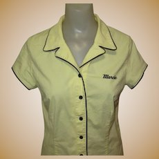 Vintage Cotton Shirt, Piping & Embroidered Name, Marcie