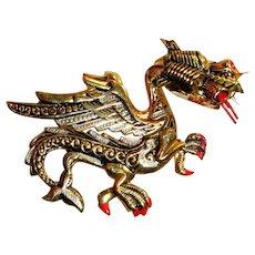 Vintage Dragon Pin / Damascene Fire Breathing Brooch, Spain