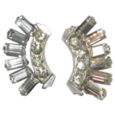 Art Deco Rhinestone Earrings, Vintage Geometric, 30's 40's