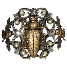 Egyptian Revival Bracelet, Scarab, Bees, Rhinestone Clamper