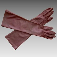 Vintage Dress Gloves, 50's Elbow Length, Shiny Brown