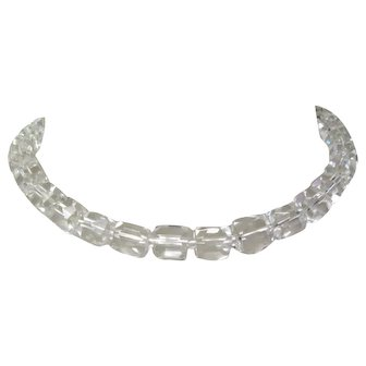 Vintage Crystal Necklace, 1950's Japan, Choker, Hand Cut Beads